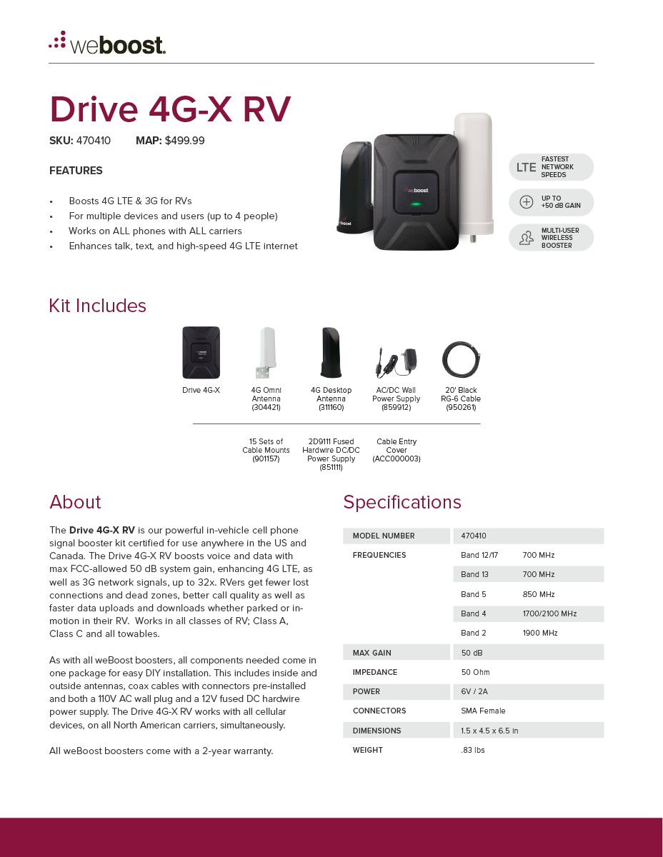 weBoost Drive 4G-X RV Spec Sheet